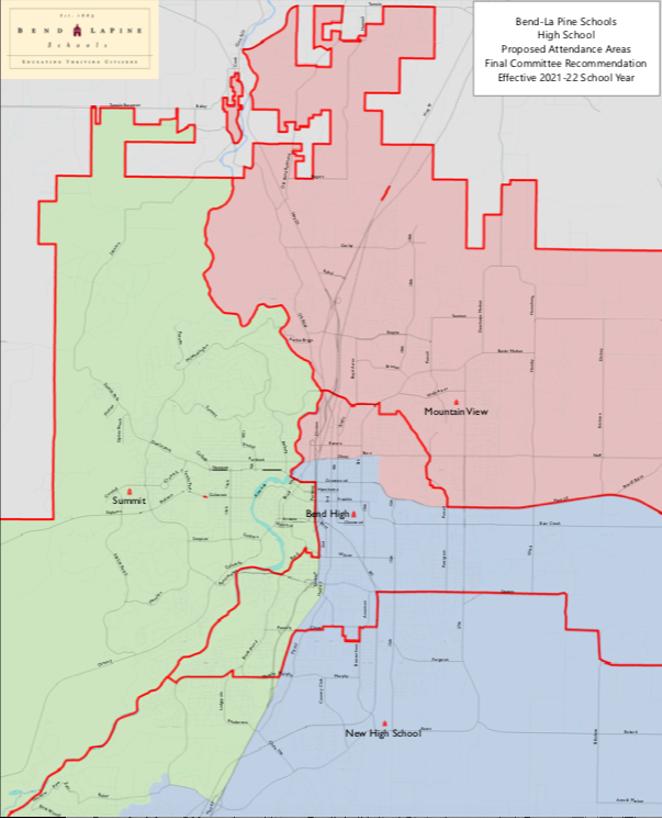 Bend-La Pine Schools High School proposed attendance areas for the 2021 school year. - BEND-LA PINE SCHOOLS