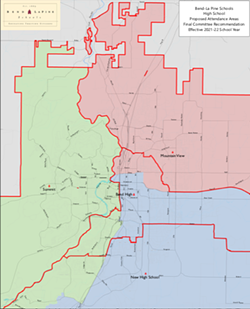 Bend-La Pine Schools High School proposed attendance areas for the 2021 school year. - BEND-LA PINE SCHOOLS