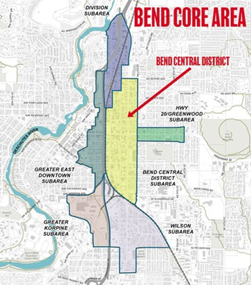 Most of the Bend Core Area and subarea boundaries will be included in the final proposal for an urban renewal district. - COURTESY CITY OF BEND
