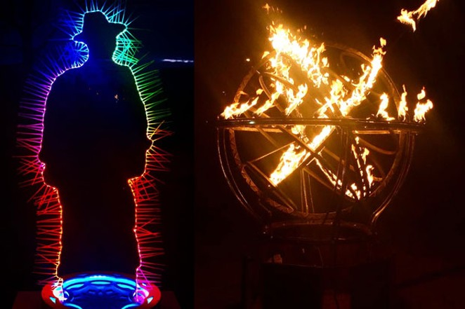 In the dead of winter, light rules! Oregon WinterFest offered many celebrations of light this past weekend, with the longstanding fire pit tradition as well as a growing collection of light art. Fire pit by Tabasco Mills; light art man by Abney Wallace. - ISAAC BIEHL