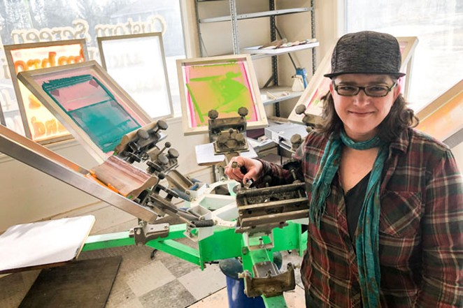 Julie Winter in her new print shop in La Pine. - TEAFLY PETERSON