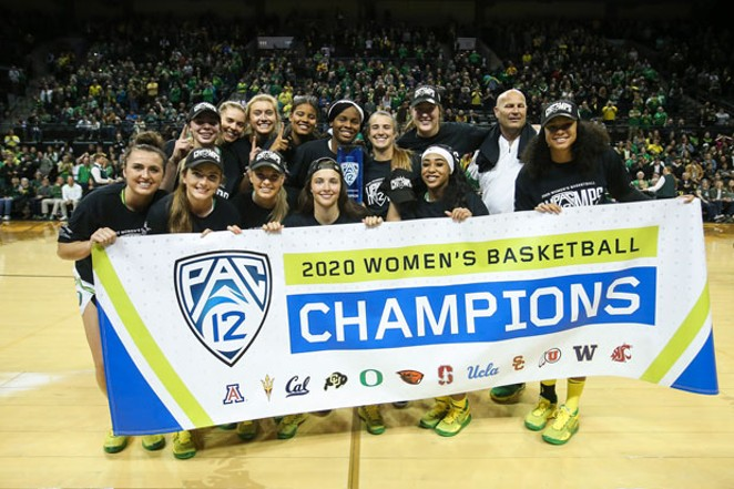 The Oregon Women's team celebrates winning the Pac 12 tournament this season. - ERIC EVANS/GODUCKS.COM