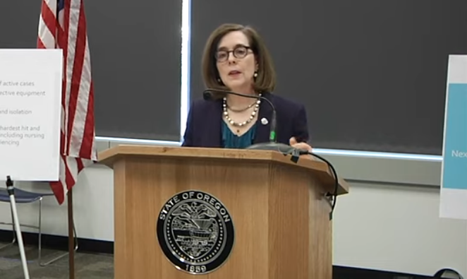 Gov. Kate Brown describes a number of conditions that must be met before opening up Oregon's economy. These include PPE supplies, more testing, more contact tracing, isolation plans and plans for people without homes and people that live in nursing homes. - SCREENSHOT VIA YOUTUBE - OREGON PUBLIC HEALTH DIVISION CHANNEL