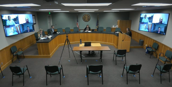 The April 15 Bend City Council meeting was primarily a virtual affair. Lags in internet connections made communicating a challenge. - SCREENSHOT VIA CITY OF BEND