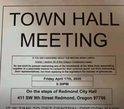 People demonstrated in Redmond Friday, urging Gov. Kate Brown to re-open the state. - SUBMITTED
