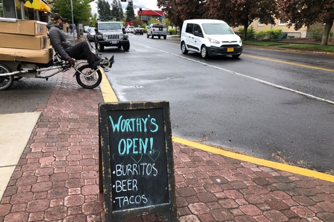 Worthy Brewing Taps & Tacos was one of the many restaurants in downtown Bend to allow sit-down service on Friday. Guests may sit on the patio or at one of the three tables inside spaced for social distancing. - NICOLE VULCAN