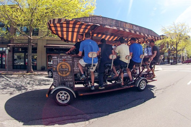 Perhaps a Cycle Pub run could ease our pandemic blues—but where will we all sit? - COURTESY CYCLE PUB
