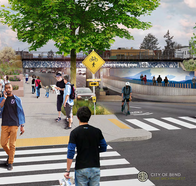 A rendering of a revitalized Greenwood Avenue underpass near downtown Bend with safe pedestrian crossing. - CITY OF BEND