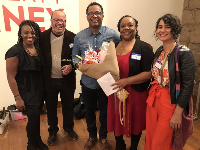 Panelists Judith Sadora, Rob Garrott, Marcus LeGrand, Erika McCalpine and Jessica Amascual during the first Love Your Neighbor event in February 2020. - NICOLE VULCAN