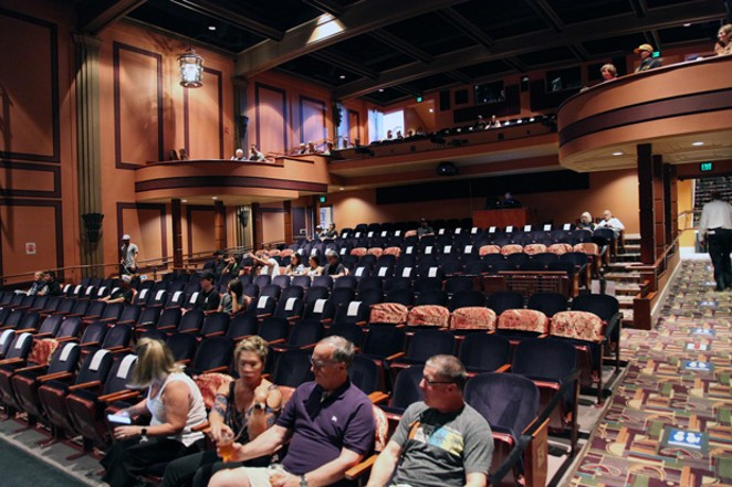 The Tower Theatre in downtown Bend has a maximum capacity of 80 people per show including performers, volunteers and audience members. The staff marks off seats with cloth coverings before the shows to isolate the audience into pods. - LARRY ROSENBERG