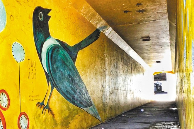 """The first mural in the Franklin Avenue Underpass, """"Two for Joy"""" by Kaycee Anseth. - DARRIS HURST"""
