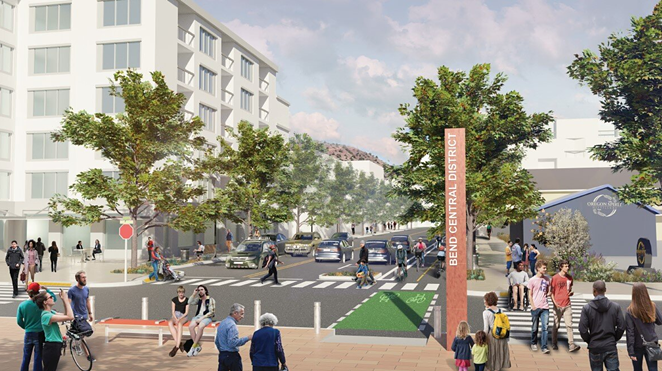 Rendering of possible improvements to NE First Street and NE Hawthorne spurred with tax increment funding (TIF). - CITY OF BEND