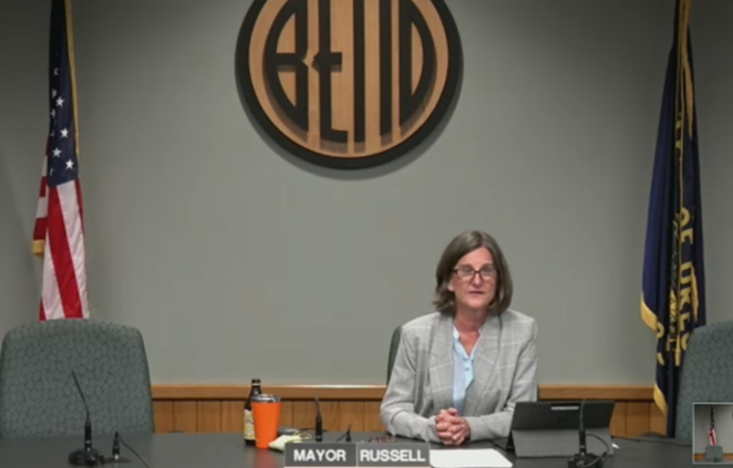 Mayor Sally Russell addresses the Bend City Council on August 19 in response to the ICE sweep and protest on August 12. - SCREENSHOT