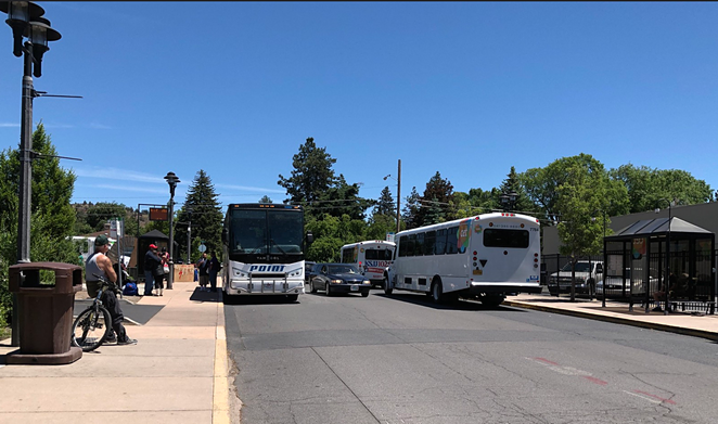 Buses, cars and people collide at the entrance to Hawthorne Station, Bend's crowded transit hub next to Safeway on NE Third Street. - COURTESY OREGON DEPARTMENT OF TRANSPORTATION