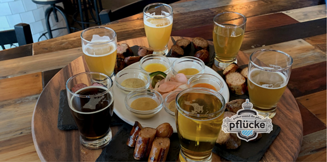 Few things pair better with cold craft brews than a homemade sausage flight and mustard flight. - PHOTO COURTESY OF PFLÜCKE