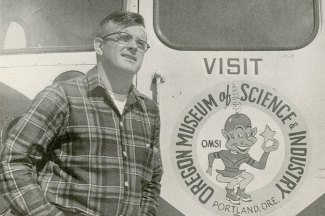 """Me and the OMSI """"Space Cruiser,"""" the museum's 26-passenger Ford bus. - COURTESY JIM ANDERSON"""
