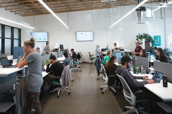 Ross Lipson and his brother Zach cofounded the Bend-based online cannabis order and delivery startup, Dutchie. This photo shows the inside of their offices: If it looks like a cool place to work, the Lipsons are hiring! The company has raised $53 million in venture capital in just three years, and plans to double its staff by 2021. - COURTESY DUTCHIE