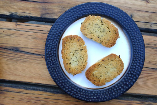 Herb cookies, turned after baking. - ARI LEVAUX