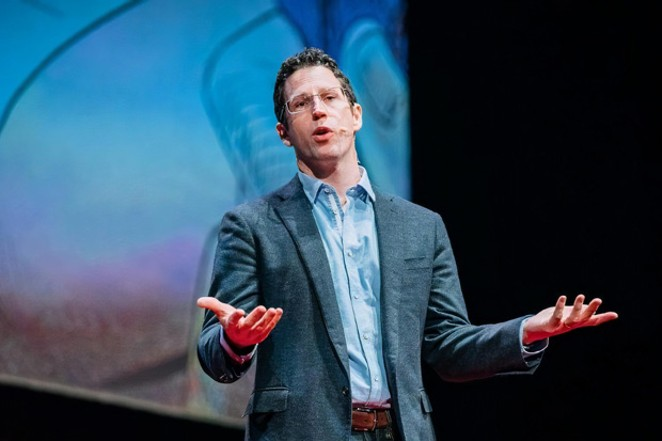 Historian Christopher Nichols shares some history-based insight during a Tedx Talk in Portland. - COURTEST OF TEDXPORTLAND
