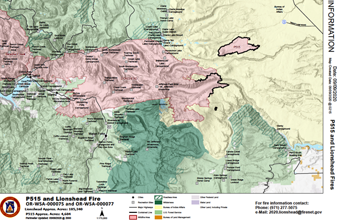 A map of the Lionshead and Beachie Creek Fires issued Wednesday afternoon, which shows the blazes merging into one massive fire. The two fires also merged with the Santiam Fire, and could soon meet another blaze in Clackamas County. - CONFEDERATED TRIBES OF WARM SPRINGS