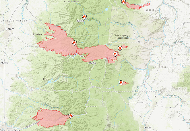 Maps of some of the fires burning nearest Central Oregon, including the Lionshead/Santiam/Beachie Creek fire on Mt. Jefferson, which combined into one giant blaze, which is 0% contained. - INCIWEB