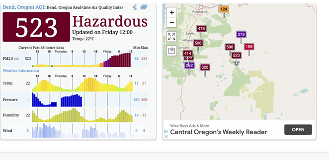 Bend's air quality was listed as hazardous as of Friday. - AQICN.ORG