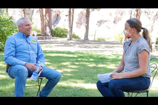 Incumbent Sheriff Shane Nelson, left, chats with Source Editor Nicole Vulcan. - DARRIS HURST