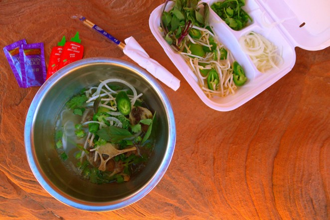 Soothe your wintertime blues by combining flavorful broth with crunchy herbs and veggies. - ARI LEVAUX