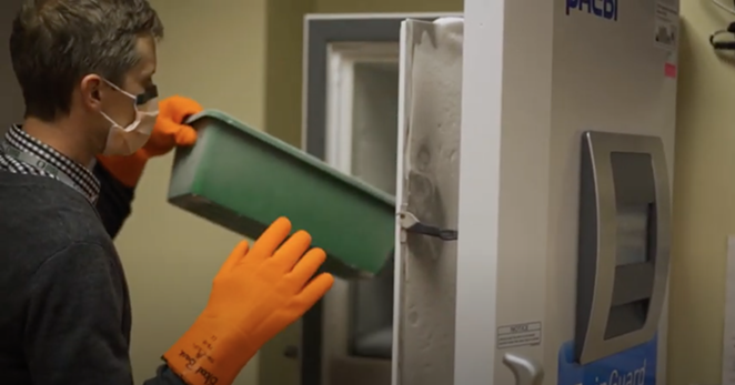 In a screengrab from a video issued by St. Charles, pharmacist Tyler Larson demonstrates the use of the freezer used to store and administer the Pfizer-BioNTech COVID-19 vaccine. - ST. CHARLES HEALTH SYSTEM