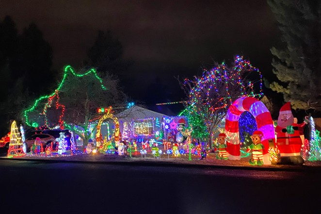 Is it Santa's workshop or just a helpful elf getting into the holiday spirit? Either way, this home on NE Meadow Lane in Bend gets an A for effort. - PHOTO BY NICOLE VULCAN