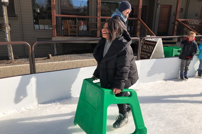 """If you're new to the ice and snow, rinks often offer """"training wheels,"""" like these skate trainers at Seventh Mountain Resort. - NICOLE VULCAN"""