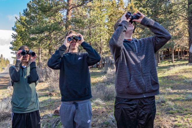Sisters High School Students on a birding field trip. - SUE ANDERSON