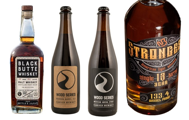 Whether it's 133-proof whiskey or just beer aged in whiskey barrels, there are plenty of ways to get your whiskey game on this season. - PHOTOS COURTESY NEW BASIN DISTILLING COMPANY, CRATER LAKE SPIRITS, SUNRIVER BREWING