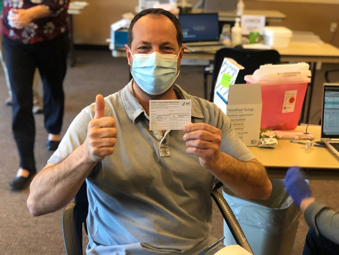 Pine Ridge Elementary School Life Skills Education Assistant Joey Kansky was the first educator in Deschutes County to receive a COVID-19 vaccination. - COURTESY BEND-LA PINE SCHOOLS
