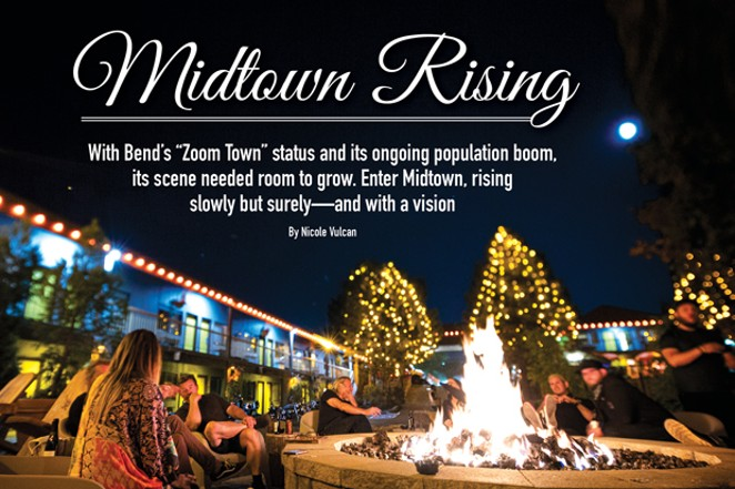 Under a bright moon, visitors and locals gather around the firepit at the Campfire Hotel in the heart of Midtown. - RYAN PROUTY
