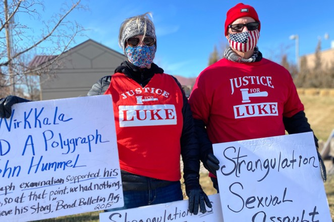 Evelyn and Steve McConnell, Luke Wirkkala's sister and brother-in-law, demonstrated in support of Wirkkala in downtown Bend March 6. - SUBMITTED