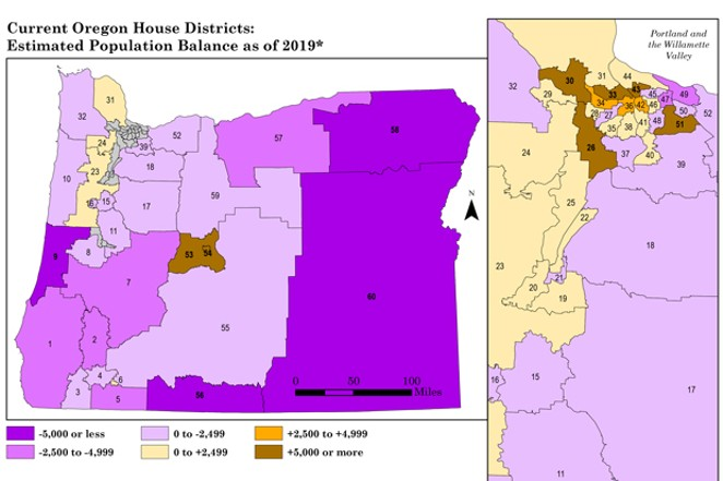 Estimated population shifts maps — State lawmakers estimated population shifts with data from the American Community Survey. Census 2020 numbers, which they will use to draw the official maps, may still be different. - BY OREGON LEGISLATIVE POLICY AND RESEARCH OFFICE