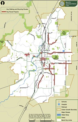 A map of the proposed walking and bike routes in the Transportation System Plan. - COURTESY CITY OF BEND