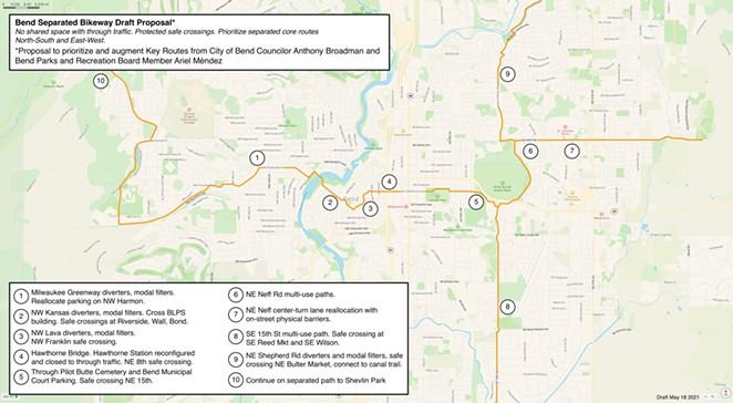 The 17 mile route would connect Shevlin Park to Big Sky Park and Rockridge Park to Alpenglow Park. - COURTESY OF ARIEL MÉNDEZ