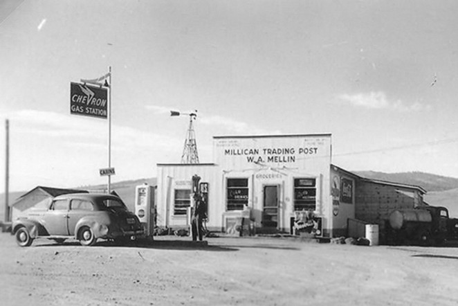 Bill Mellin stands at the Millican Trading Post. He operated the store starting in 1945, until his murder in 1988 by an employee. - BOWMAN MUSEUM