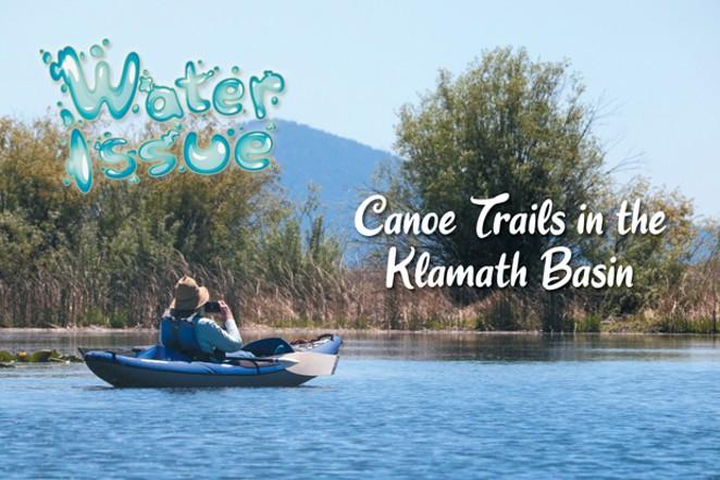 Signage marks the canoe trail in Upper Klamath Lake. - DAMIAN FAGAN