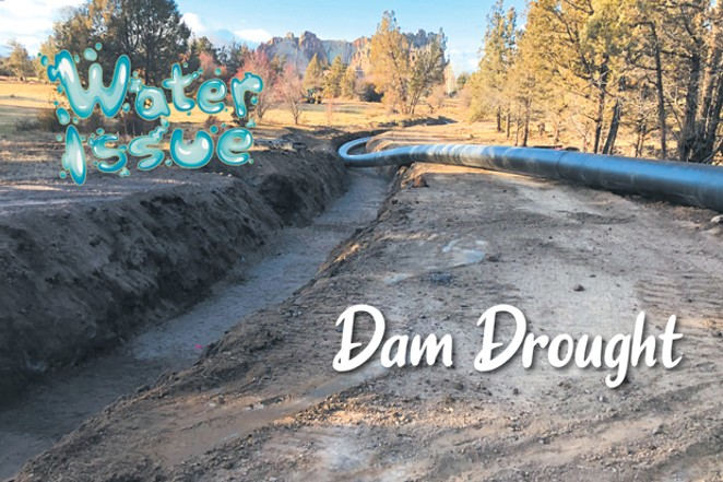 A water pipe sits in a ditch before it was buried by Central Oregon Irrigation District to replace open-air canals. Canals can lose up to half of their water in transit through seepage into the ground and evaporation, piping advocates say. - COURTESY CENTRAL OREGON IRRIGATION DISTRICT
