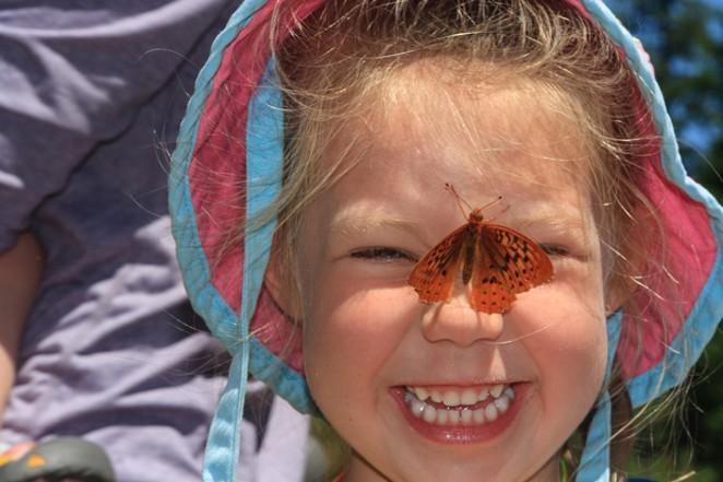 A butterfly on the nose always adds fun to outdoor adventures. - DESCHUTES LAND TRUSTDESCHUTES LAND TRUST