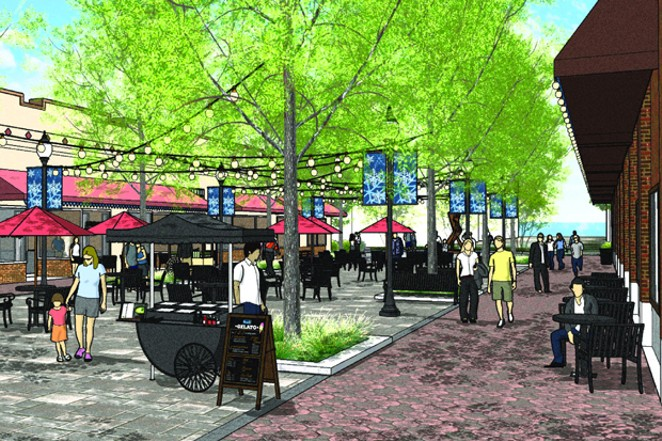 Conceptual art from Szabo Landscape Architecture shows an on-the-street view of what Minnesota Avenue could look like if converted to a pedestrian plaza. - DOWNTOWN BEND BUSINESS ASSOCIATION