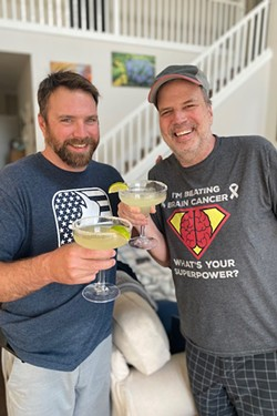 Jeff Rasmussen with his son Chris, drinking margaritas to mark Jeff's departure from the hospital and the first time father and son could be together since the advent of COVID-19. - COURTESY JEFF RASMUSSEN