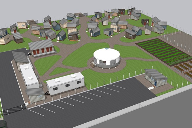 Oasis Village renderings show the tiny bedrooms, storage and facilities for the proposed community for unhoused people. - BEND CREATIVE LAB