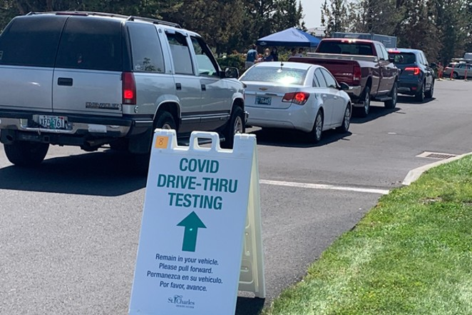 In response to the current COVID situation, St. Charles Health System announced August 15 that it had set up a drive-through testing center in the back of the parking lot of its building at 2600 NE Neff Road, as seen here. St. Charles also opened an urgent care in the Bend East Family Care building—at the same address as the testing center—and encouraged community members who don't need an emergency level of care to use the urgent care clinic rather than going to the Emergency Department of St. Charles Medical Center. Both the testing and urgent care facilities are open from 8am to 4pm daily. - PHOTO COURTESY ST. CHARLES