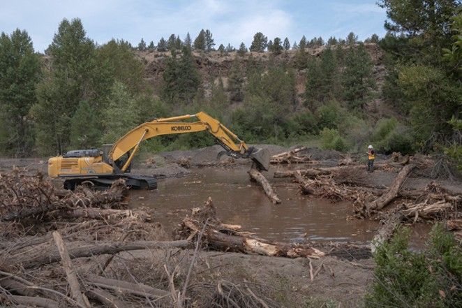 Construction crews place logs to help with the restoration of Whychus Creek at Rimrock Ranch. - RICK DINGUS