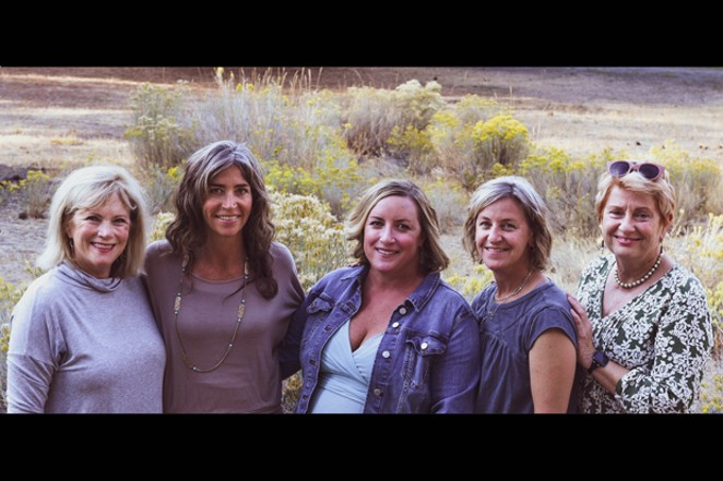 The end-of-life doula team at the Peaceful Presence Project. From left are Marian Boileau, Elizabeth Johnson, Kari Sims Anthon, Erin Collins and Beth Patterson. - JENNIFER KINNEY