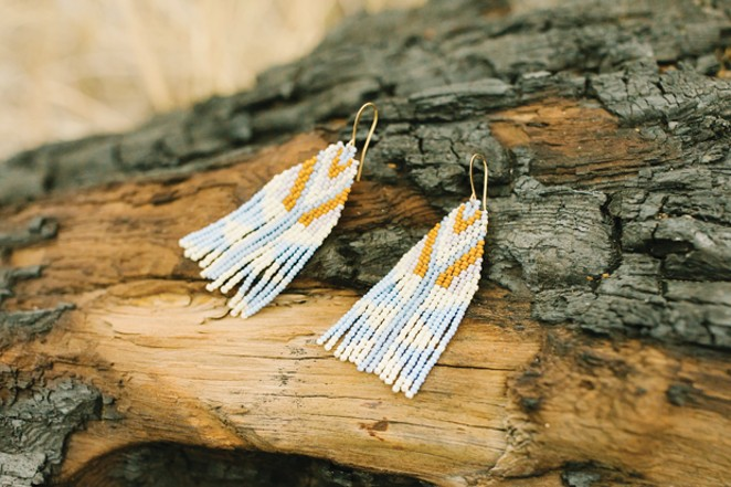 Sway Beaded Earrings, by Pedal Creations, $88  Bronwen - DREW CECCHINI